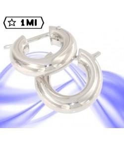 Eleganti orecchini a cerchio tubolare in oro bianco