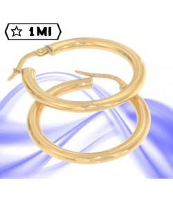 Eleganti orecchini a cerchio tubolare in oro giallo