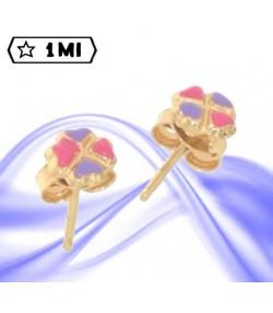 Graziosi orecchini in oro giallo forma quadrifogli colorati