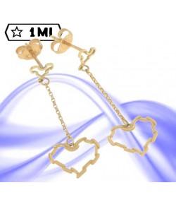 Eleganti orecchini in oro giallo pendenti a cuore