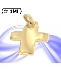 Ciondolo croce bombata lunga in oro giallo