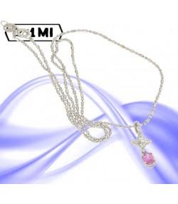 Elegante collana con Pendente ovale con diamanti e zaffiro rosa