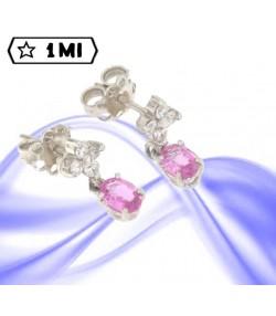 Eleganti Orecchini in oro bianco e zaffiri rosa e diamanti