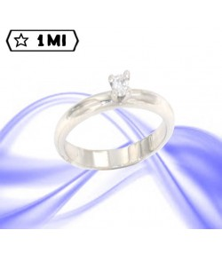 Elegante Solitario Francesina in platino con diamante da 0,12ct