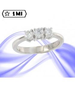 Raffinato Trilogy dritto in oro bianco con Diamanti 0,53ct tot.