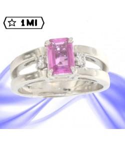 Elegante anello Anello in oro bianco con Zaffiro rosa e Diamanti