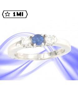 Elegante Trilogy dritto  in oro bianco con Zaffiro blu e Diamanti