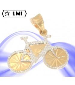 Grazioso ciondolo bicicletta in oro giallo contornata in oro bianco