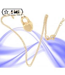 Graziosa Collana con lucchetto a forma di cuore in oro giallo