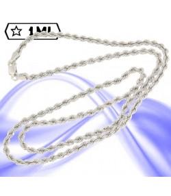 Elegante collana maglia corda media in oro bianco
