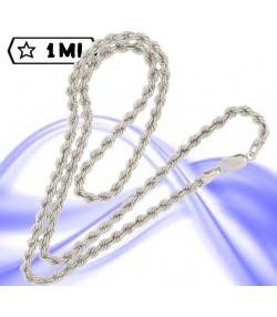 Elegante catena maglia corda in oro bianco