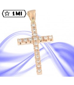 Raffinata croce in oro rosa con diamanti ct tot. 0,41