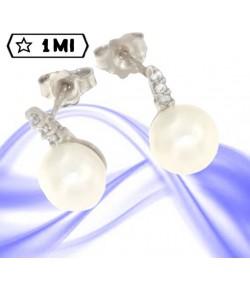 Eleganti orecchini in oro bianco con perla e zirconi