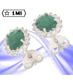 Eleganti orecchini in oro bianco con pietra verde e zirconi