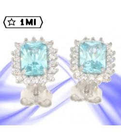 Eleganti orecchini in oro bianco con pietra azzurra e zirconi