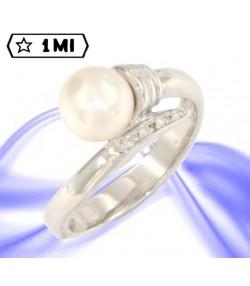 Anello perla e diamantini