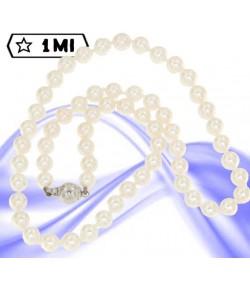 Elegante filo di perle con chiusura in oro bianco