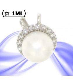 Raffinato ciondolo in oro bianco con perla e giro di zirconi