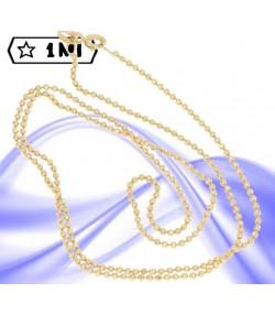 Elegante collana maglia pallini diamantati in oro giallo