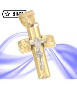 Affascinante croce in oro giallo gesù in oro bianco