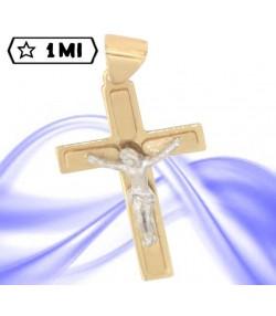 Raffinata croce in oro giallo liscio e satinato gesù in oro bianco