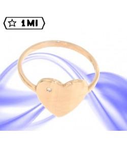 Elegante anello cuore in oro rosa con brillantino da 0,01ct