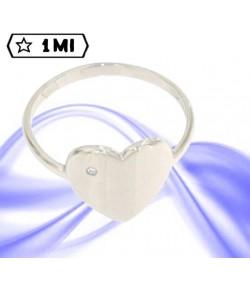 Elegante anello cuore in oro bianco con brillante da 0,01ct