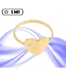 Elegante anello cuore in oro giallo con brillante da 0,01ct