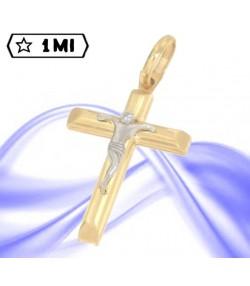 Raffinata croce in oro giallo con Gesù in oro bianco