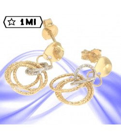 Eleganti orecchini anelli diamantati in oro giallo e oro bianco