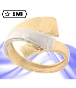 raffinato anello in oro giallo e oro bianco