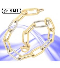 raffinato bracciale rettangoli in oro giallo e oro bianco