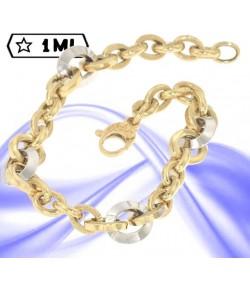 Elegante bracciale rolò anelli lavorati e lisci in oro giallo e oro bianco