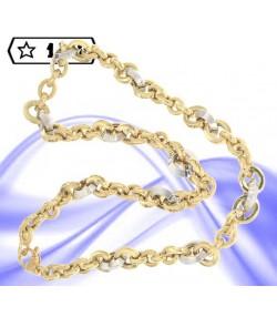 raffinato collier maglia rolò in oro giallo e oro bianco