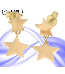 Graziosi orecchini due stelle in oro giallo