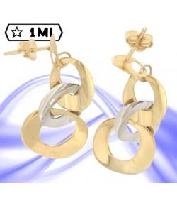 eleganti orecchini pendenti in oro giallo e oro bianco