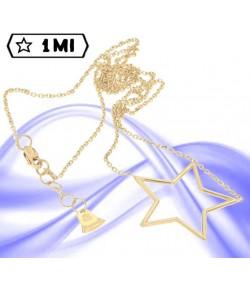 Raffinata collana maglia rolò con stella  in oro giallo