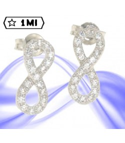 Raffinati orecchini simbolo infinito in oro bianco con zirconi