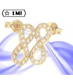 Bellissimi orecchini simbolo infinito in oro giallo con zirconi