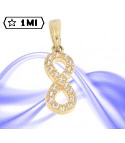 Bellissimo ciondolo simbolo dell'infinito in oro giallo e zirconi