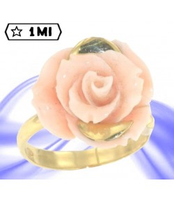 Splendido anello in oro giallo con corallo mediterraneo rosa naturale