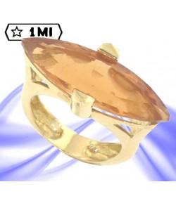 splendido anello in oro giallo con quarzo citrino idrotermale