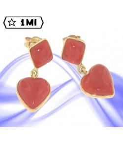 splendidi orecchini in oro giallo con cuore corallo rosso mediterraneo