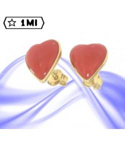 bellissimi orecchini in oro giallo cuore corallo rosso mediterraneo