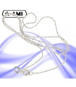 raffinata collana maglie tonde con decoro brillantinata in oro bianco