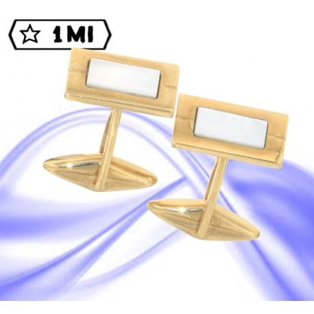 Eleganti gemelli rettangolari in oro giallo e madre perla