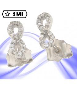 Bellissimi orecchini simbolo infinito in oro bianco con zirconi