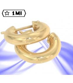 eleganti orecchini cerchio tubolare in oro giallo