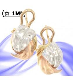 bellissimi orecchini a conchiglia in oro rosa e oro bianco