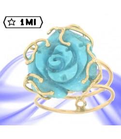 splendido anello in oro giallo con rosa di turchese naturale